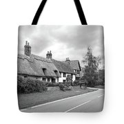Travellers Delight - English Country Road Black And White Tote Bag