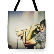 Travelling Man Looking Through Binoculars Tote Bag