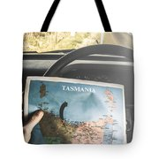 Travelling Tourist With Map Of Tasmania Tote Bag