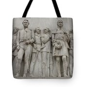 Travis And Crockett On Alamo Monument Tote Bag