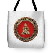 Treasure Trove - Gold Buddha On White Leather Tote Bag