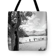 Tree And People By The Lake Tote Bag