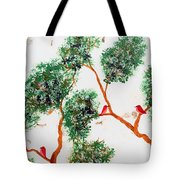 Tree And Red Birds 2 Tote Bag