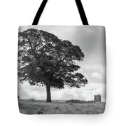 Tree And The Cage Tower In The Distance In Lyme Park Estate In B Tote Bag