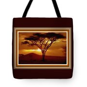 Tree At Sunset. L B With Decorative Ornate Printed Frame. Tote Bag
