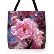 Tree Blossoming Pink Spring Blue Sky Baslee Troutman Tote Bag