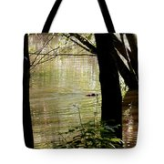 Tree Bowing To Swimming Beaver  Tote Bag