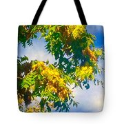 Tree Branch With Leaves In Blue Sky Tote Bag