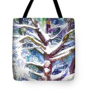 Tree Branches Covered By Snow In Winter Tote Bag