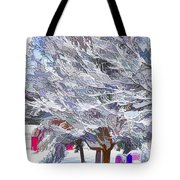 Tree Branches Covered By Snow  Tote Bag