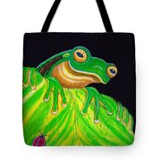 Tree Frog On A Leaf With Lady Bug Tote Bag