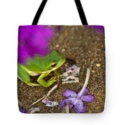Tree Frog Under Flower Tote Bag