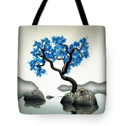 Tree In Blue Tote Bag