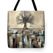 Tree In Brown And Gold Landscape Tote Bag