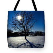 Tree Into Sun On A Winter Snowy Afternoon Tote Bag