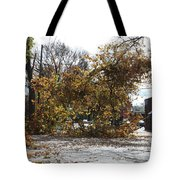 Tree Meets Hurricane Sandy By The Fair Lawn Nj Post Office Tote Bag