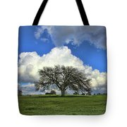 Tree Of Life Style Oak Tree And Coluds Tote Bag