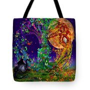 Tree Of Life With Owl And Dragon Tote Bag