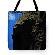 Tree On A Cliff At Battleship Rock New Mexico - 003 Tote Bag