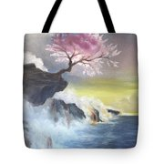 Tree On Cliff Tote Bag