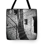 Tree Shadow , Doors And Stairs At The Elder Battery At Fort Delaware Tote Bag