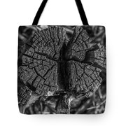 Tree Stump Black And White Tote Bag