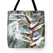 Tree With White Fluffy Snow Tote Bag
