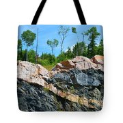 Trees Above The Pink And Grey Rock  Tote Bag