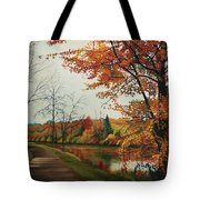 Trees Along The Canal Tote Bag
