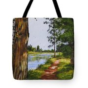 Trees Along The River Tote Bag