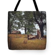Trees And Cabin Tote Bag