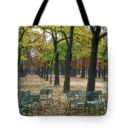 Trees And Empty Chairs In Autumn Tote Bag