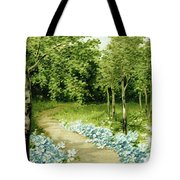 Trees And Flowers Country Scene Tote Bag