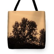 Trees And Geese In Sepia Tone Tote Bag