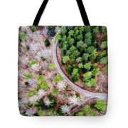 Trees And Path From Above Drone Photography Tote Bag