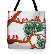 Trees And Red Birds 1 Tote Bag