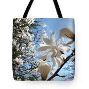 Trees Art Prints White Magnolia Flowers Baslee Troutman Tote Bag