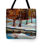 Trees At The Rivers Edge Tote Bag