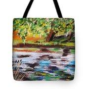 Trees Edge The Pond Tote Bag