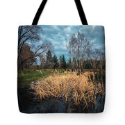 Trees In A Fog On A Background Of The River In Summer Morning  Tote Bag