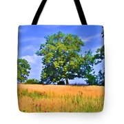 Trees In Field Tote Bag