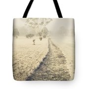 Trees In Fog And Mist Tote Bag