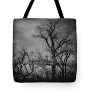 Trees In Storm In Black And White Tote Bag