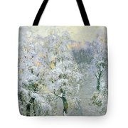 Trees In Wintry Silver Tote Bag