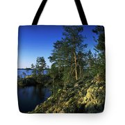 Trees On An Island In A Lake, Lake Tote Bag