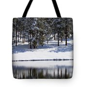 Trees Reflecting In Duck Pond In Colorado Snow Tote Bag