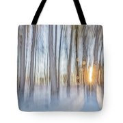 Trees, Snow And Golden Light Abstract Tote Bag