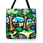Trees W Water Ddl Tote Bag