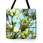 Trees White Dogwood Flowers 9 Blue Sky Landscape Art Prints Tote Bag