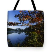 Trees With Fall Colors Along The Still Tote Bag